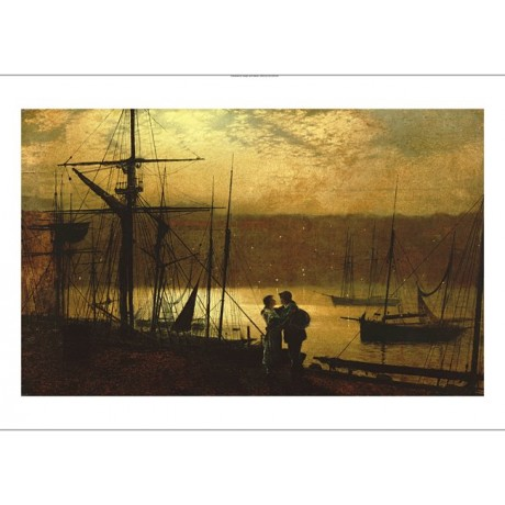 JOHN ATKINSON GRIMSHAW tall ship ON CANVAS print choose SIZE, from 55cm up, NEW