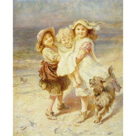 "Frederick Morgan ""A Day at the Beach"" happy girls playing on sand dog chasing"