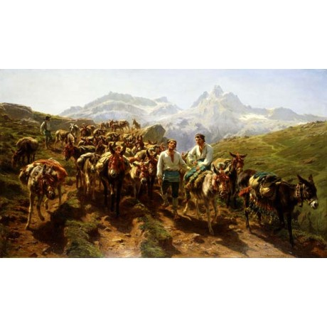 "ROSA BONHEUR ""Spanish MULETEERS Crossing the PYRENEES"" mountain path BRAND NEW"