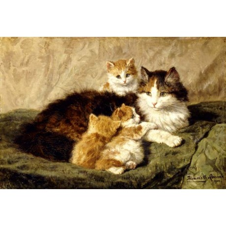 HENRIETTE RONNER-KNIP Contentment cat with KITTENS soft gentle GREEN rug giclee