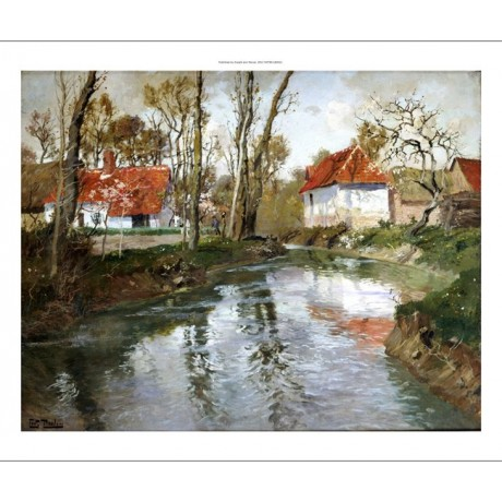 "FRITS THAULOW ""Dairy At Quimperle"" Landscape ON CANVAS various SIZES, BRAND NEW"