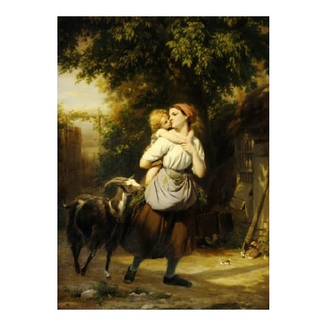 FRITZ ZUBER-BUHLER mother and goat PRINT GICLEE canvas various SIZES, BRAND NEW