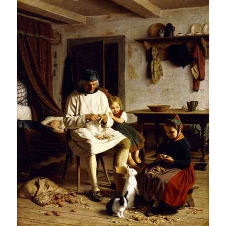 FRIEDRICH MEYERHEIM Family Chores GIRL peeling father baby rabbit CANVAS PRINT