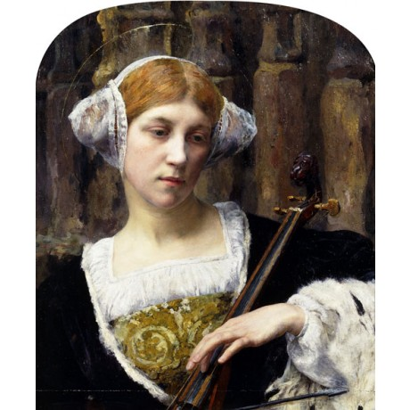 "EDGARD MAXENCE ""The Celloist"" REDHEAD woman fashion hairstyle NEW CANVAS PRINT!"