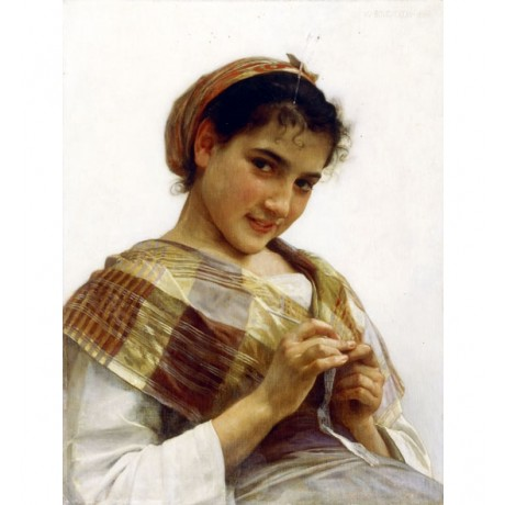 "WILLAM BOUGUEREAU ""A Breton Girl"" FLIRTING teenage headscarf local CANVAS PRINT"