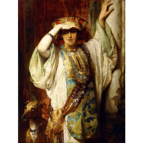 EDOUARD DUBUFE Medje? WOMAN in finery shielding her eyes sash dog CANVAS PRINT