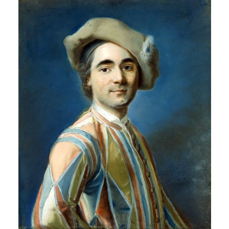 "LOUIS VIGEE ""Portrait of an Actor as Harlequin"" PATTERNED serious CANVAS PRINT"