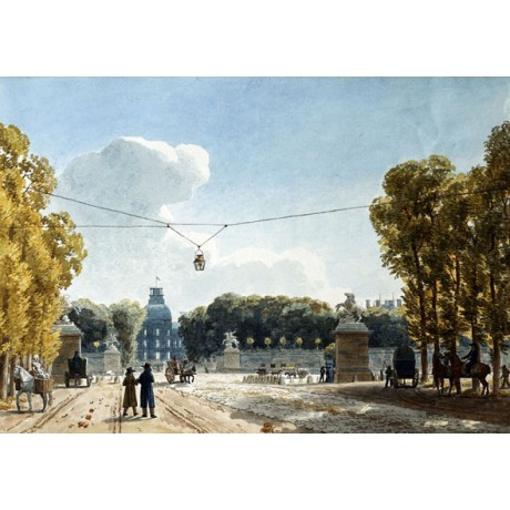 "FINE NEW CANVAS PRINT ""View of the Tuileries"" GARDENS paris JEAN LUBIN VAUZELLE"