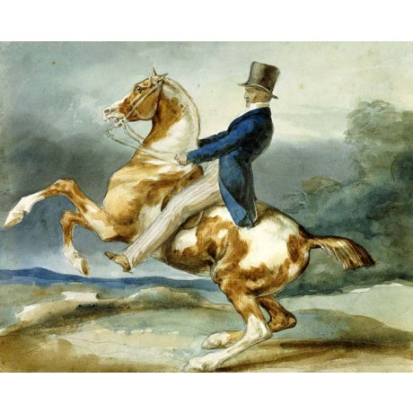 "THEODORE GERICAULT ""A Rider and His Rearing Horse"" DANGER blue hat CANVAS PRINT"