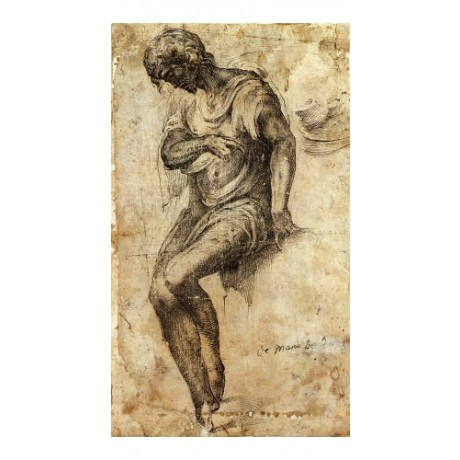 """ALONSO BERRUGUETE """"A Man Seated On A Ledge"""" print choose SIZE, from 55cm up, NEW"""