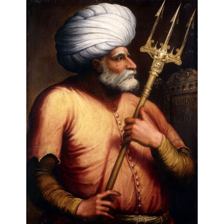"FLORENTINE ""Portrait of Khair el-Din Barbarossa"" PIRATE trident CANVAS PRINT!!!"