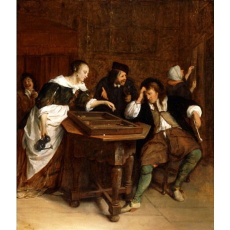 "JAN STEEN ""Gentlefolk Playing Backgammon"" DIFFICULTY advice game CANVAS PRINT"