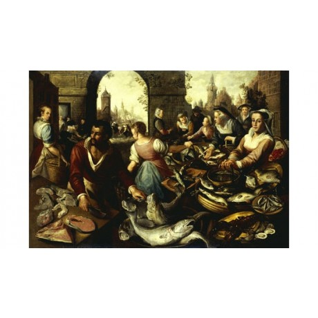 "BEUCELAYER (CIRCLE OF) ""A Fish Market"" print NEW choose SIZE, from 55cm up, NEW"