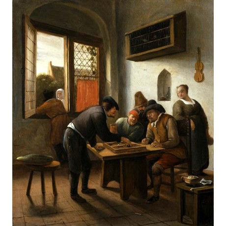 "JAN STEEN ""Tric Trac Players in an Interior"" board game violin on wall dutch"