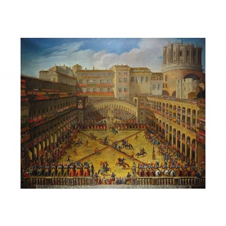 "ROMAN SCHOOL ""Tournament In Courtyard Of Vatican"" ENTERTAINMENT jousting CANVAS"