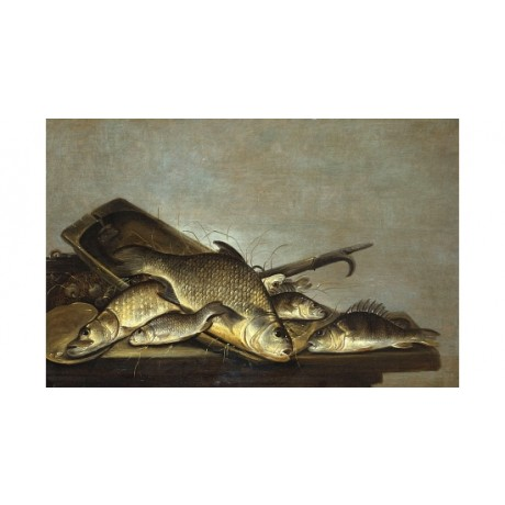PIETER DE PUTTER !Carp, Perch And A Pike! new CANVAS! various SIZES, BRAND NEW
