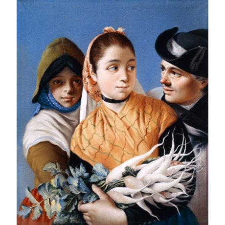 NEW PRINT! Girl in Orange Shawl holding Turnips BLUE skies tricorn hat TIEPOLO