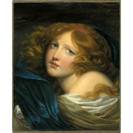 "JEAN-BAPTISTE GREUZE ""A young girl with auburn hair"" YOUTHFUL innocence CANVAS!"