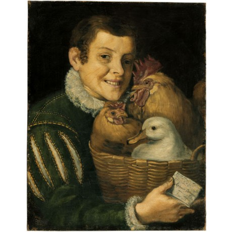 VINCENZO CAMPI Boy with a basket of poultry SMILING servant boy birds ART on C