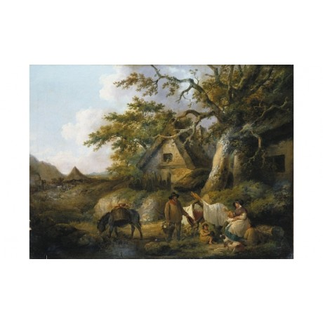 "GEORGE MORLAND ""Travellers At Rest Beside Cottages"" various SIZES available, NEW"