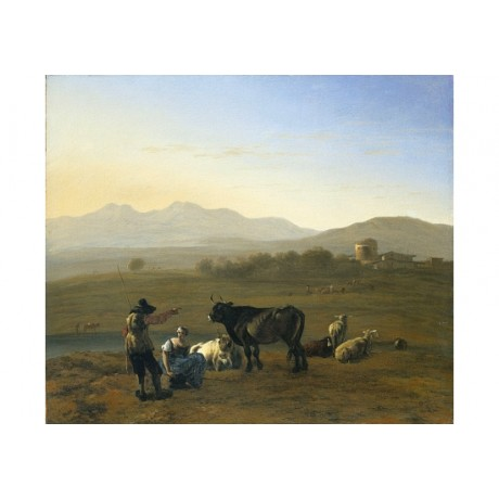 "KAREL DUJARDIN ""Landscape In Roman Campagna"" new CANVAS various SIZES, BRAND NEW"