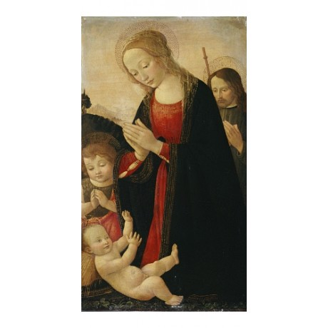 "JACOPO DEL SELLAIO ""Holy Family With Infant St John"" various SIZES available"