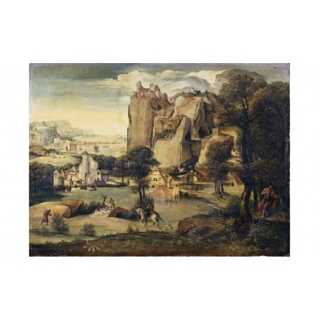 "LUCAS GASSEL ""A Rocky Landscape With St John"" ON CANVAS various SIZES, BRAND NEW"
