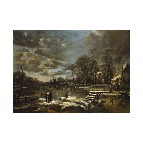 "AERT VAN DER NEER ""A Winter River Landscape"" ON CANVAS! various SIZES, BRAND NEW"