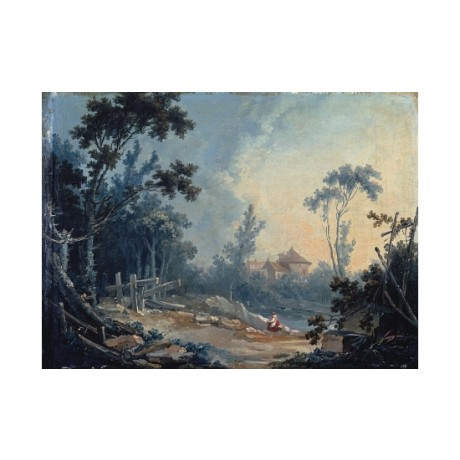 "FRANCOIS BOUCHER ""Wooded Landscape With Buildings"" NEW various SIZES, BRAND NEW"