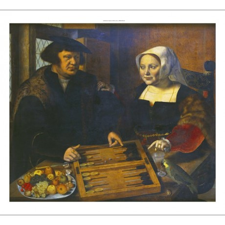 HEMESSEN Husband Wife Playing Trick-Track BACKGAMMON fruit parrot CANVAS PRINT