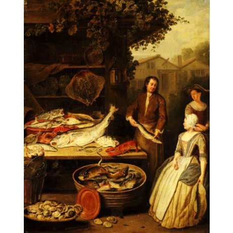 "PIETER ANGILLIS ""Fishmonger displaying Pike to a Maid"" SEAFOOD vat CANVAS PRINT"