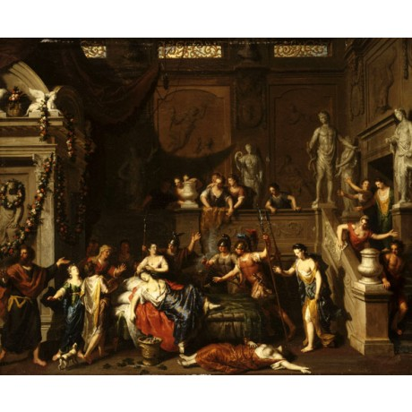 "GERARD HOET ""The Death of Cleopatra"" SUICIDE courtier crowd queen CANVAS PRINT"