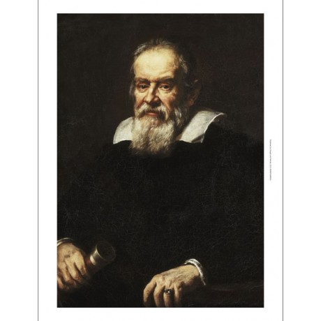 "UNKNOWN ""Portrait of Galileo Galilei"" FAMOUS telescope black coat CANVAS PRINT"