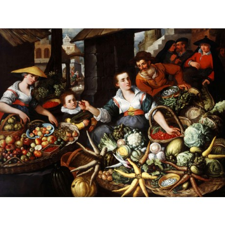 JEAN BAPTISTE DE SAIVE Fruit and Vegetable Stall in a Town Market CANVAS PRINT