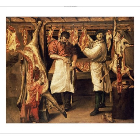 "ANNIBALE CARRACCI ""Butcher's Shop"" People CANVAS ART ! various SIZES, BRAND NEW"