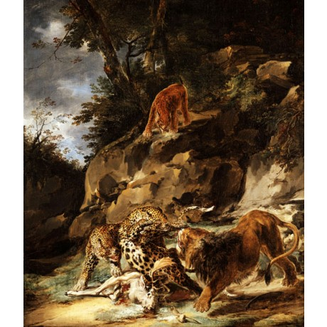 "CARL ANDREAS RUTHART ""A Lion Driving a Pair of Leopards off a Dead Stag"" NEW!!"
