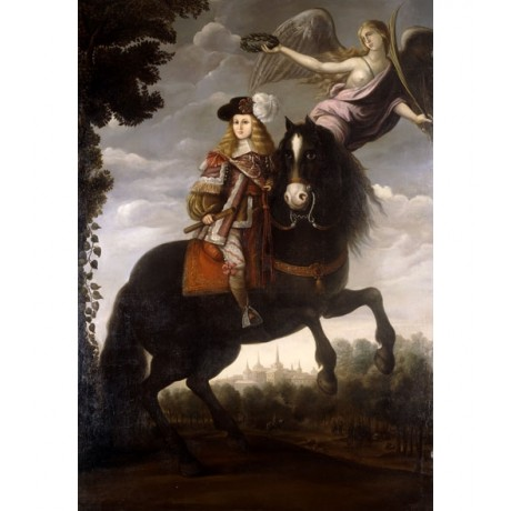 "MADRID ""Equestrian Portrait of King Charles II"" CROWN angel horse CANVAS PRINT"