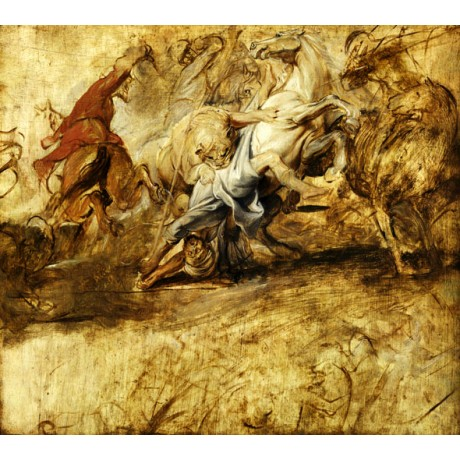 "PETER PAUL RUBENS ""A Lion Hunt"" STAMPEDE confusion attacking sport CANVAS PRINT"