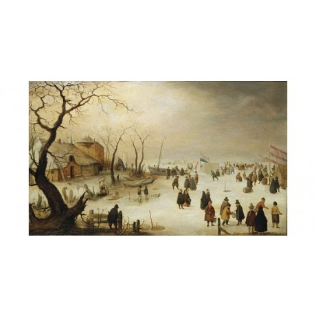 "HENDRICK AVERCAMP ""A Winter River Landscape"" ON CANVAS! various SIZES, BRAND NEW"
