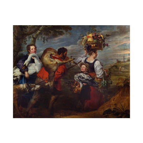 BOECKHORST Peasants Market SWAN fruit dog boy deer animal carcass CANVAS PRINT