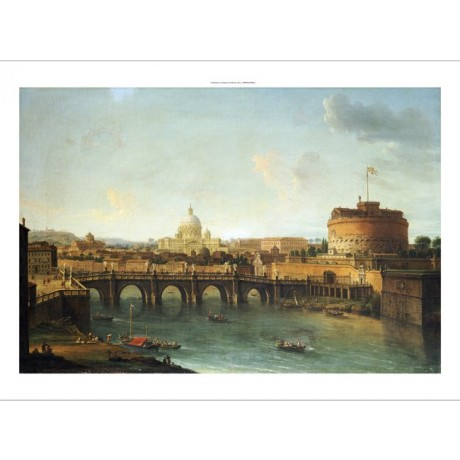 ANTONIO JOLI Castel Santangelo Rome PRINT CANVAS choose SIZE, from 55cm up, NEW