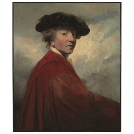 "JOSHUA REYNOLDS ""Portrait of the Artist"" red SMOCK black hat sky CANVAS PRINT"