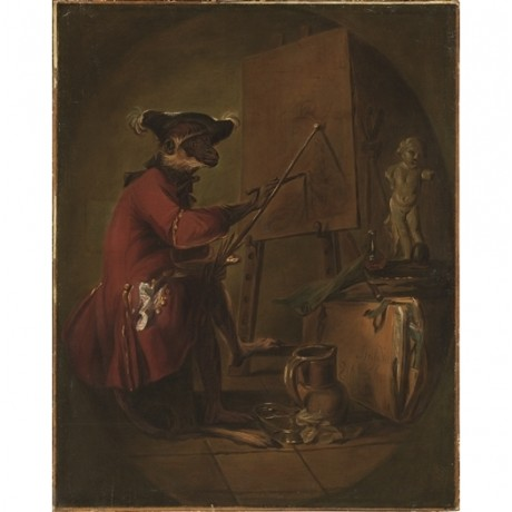 "JEAN CHARDIN ""Le Singe Peintre/The Monkey Painter"" ARTIST easel statue CANVAS"