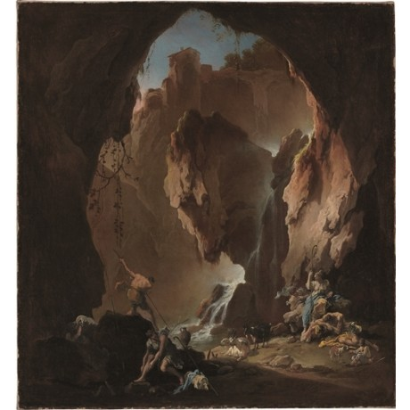 "ALESSANDRO MAGNASCO ""Shepherds in a Grotto"" SHELTER sheep animals CANVAS PRINT"
