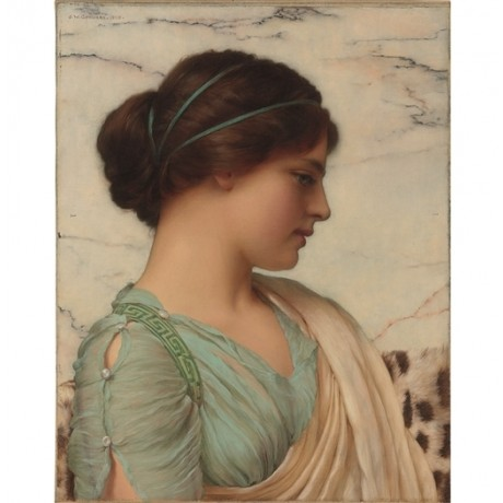 "JOHN WILLIAM GODWARD ""A Classical Beauty"" FEMININE profile blue delicate CANVAS"