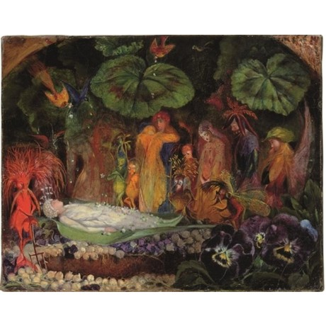 JOHN ANSTER FITZGERALD Death of the Fairy Queen FANTASY fairies pansies CANVAS