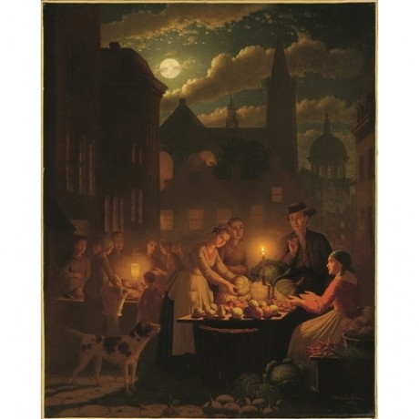 "JOHANN CULVERHOUSE ""Night Market"" CANDLELIGHT full moon stalls NEW CANVAS PRINT"