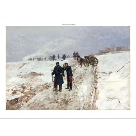 "ETIENNE BELLECOUR ""An Incident in Franco-Prussian War"" MARCHING snow CANVAS"