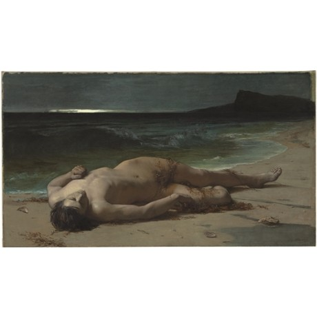 "FERDINAND SCHAUSS ""Peace after the Storm"" BODY flesh skin male sea shore CANVAS"