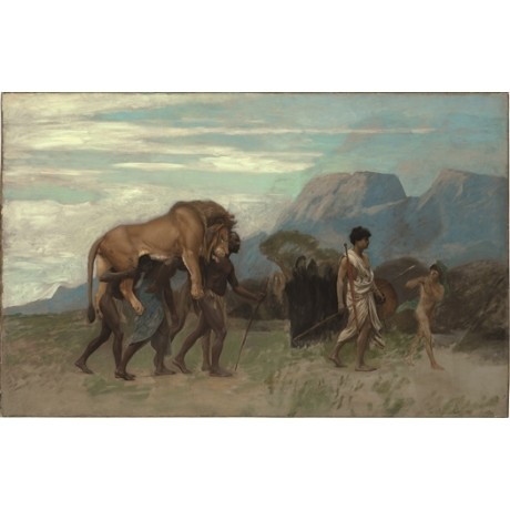 "JEAN LEON GEROME ""Return from the Lion Hunt"" KILL native carcass africa CANVAS"